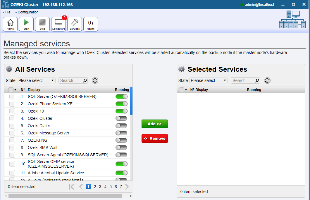 Service selection page