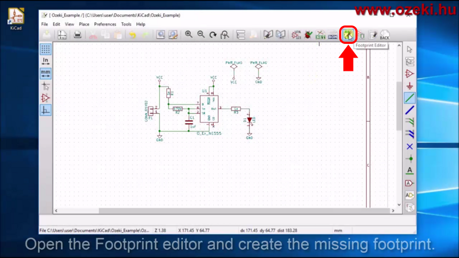 Open KiCad footprint editor