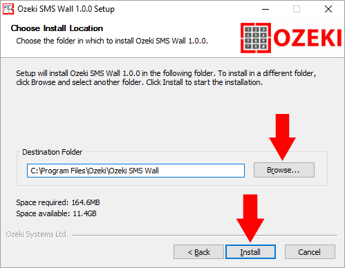 Selecting an installation folder