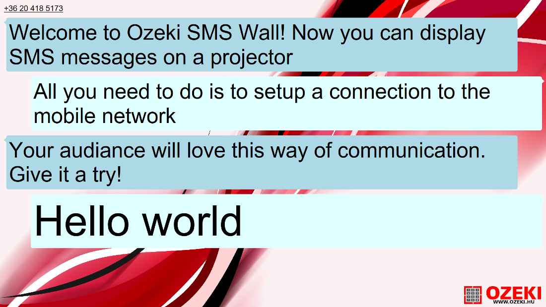 The fullscreen mode of the SMS wall