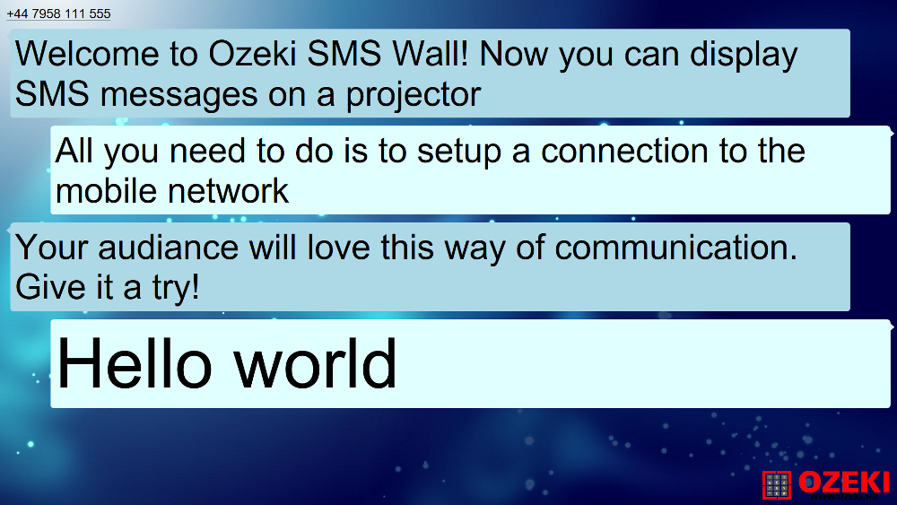 Ozeki SMS Wall in fullscreen mode