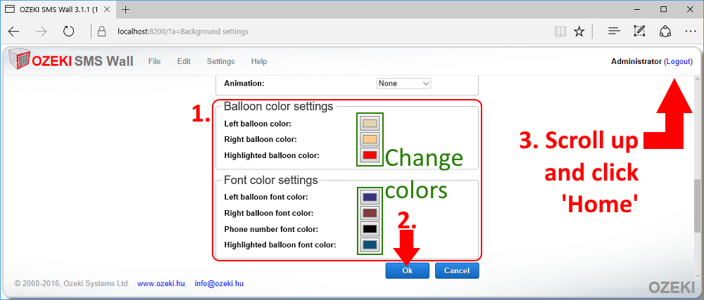 Changing font and balloon colors