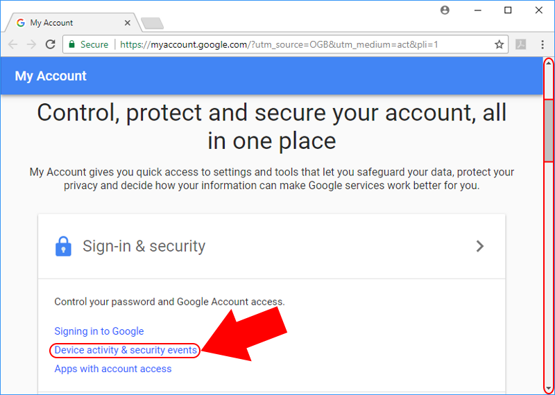 Gmail security events
