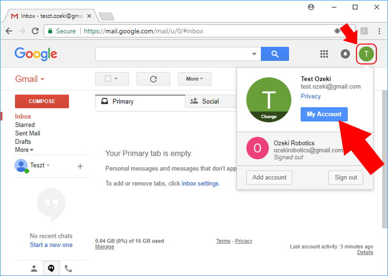 Open your gmail account