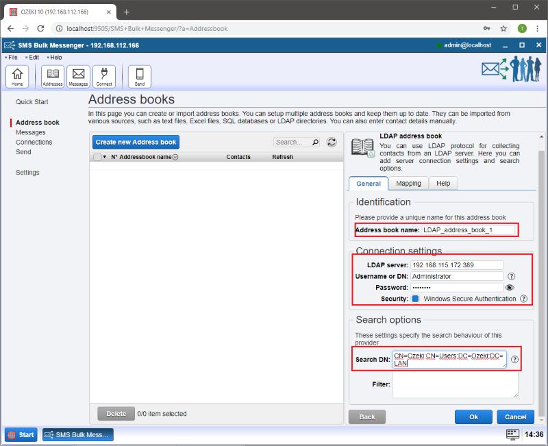 OZEKI - Tutorial for creating LDAP address book