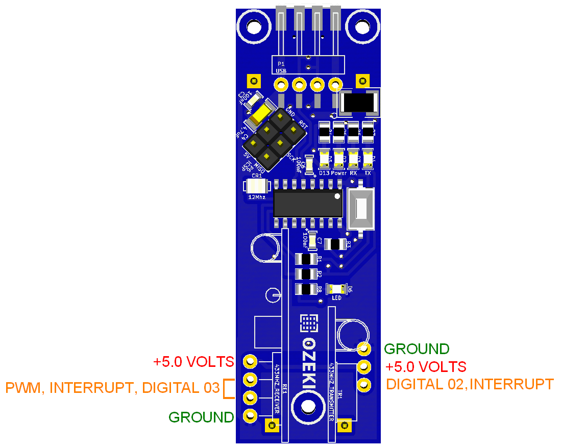 Ozeki 433mhz Rf Module Rf433 Rx This A Simple Which Operates At The Figure 3 Receiver And Transmitter Pinout Of