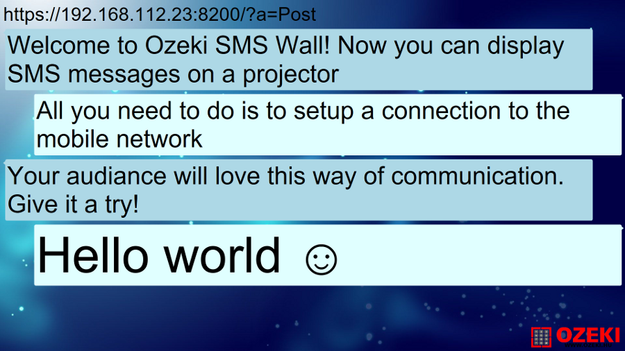 OZEKI - SMS Wall Wifi Guest messages